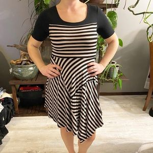 Monteau Asymmetrical Striped 1/4 Sleeve Dress